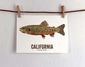California State Fish, Map art, Nature Outdoor art, Vintage Map art, Art print, Fish Wall decor, Fish Art, Gift For Him - Golden Trout