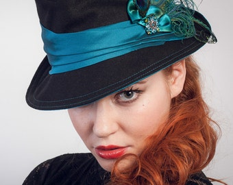 Classic Fedora Black Wool And Turquoise Silk Hat