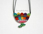Flower Statement Necklace, flower spring jewerly, colorful frlower pendant, Wearable art