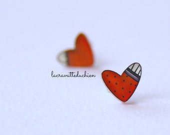 Valentine hearts stud earrings, Valentine's Day jewelry, Valentine's gift for her, Valentine  jewelry