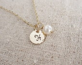 Personalized pearl necklace, custom gold initial necklace, handstamped gold letter, freshwater pearl or gemstone necklace, monogram necklace