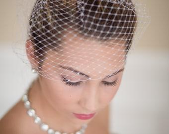 Small Birdcage Blusher Wedding Veil with Rhinestones