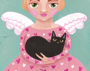 A Valentine Angel Original Folk Art Painting