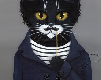 The Hipster- Cat Folk Art Print 8x10, 11x14