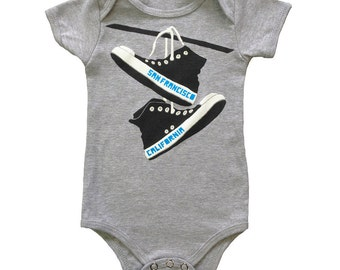 San Francisco Converse - Baby One Piece Bodysuit California Retro Cute Shoes SF San Fran Hipster Romper Jumper Grey Onesie