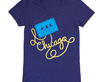 Womens Chicago Cassette Tape Fitted T-Shirt - Music DJ Mixtape Illinois Midwest Windy City Eighties Retro Vintage Tri Blend Indigo Tee Shirt