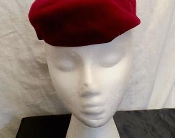 Vintage 1960's Red Velvet Pillbox Hat