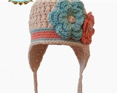 Ear Flap Hat with Flowers- Ecru, Tea Rose, Robins Egg