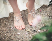 "Bridal Barefoot Sandals | Crystal + Pearls + Handmade Lace | Grecian, Spring, Woodland, Beach Wedding ""Theia"""