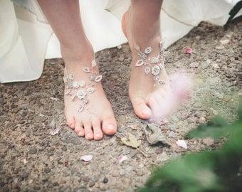 "Bridal Barefoot Sandals | Crystal + Pearls + Handmade Lace | Grecian, Spring, Woodland, Beach Wedding ""Theia"""
