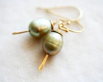 Sage Green Pearl Earrings, Simple Drop Earrings,14 Karat Gold Filled