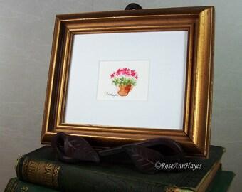 Original Watercolor Painting Pink Flowers Miniature Floral Flowers