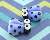 2 Glass Ladybug Beads - Lampwork Ladybug Beads - 14mm Ladybug Beads - Blue Ladybug - SRA Handmade Lampwork - P