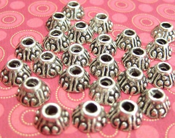 24 Silver Plated 7mm Bali Style Round Bead Caps TS676B