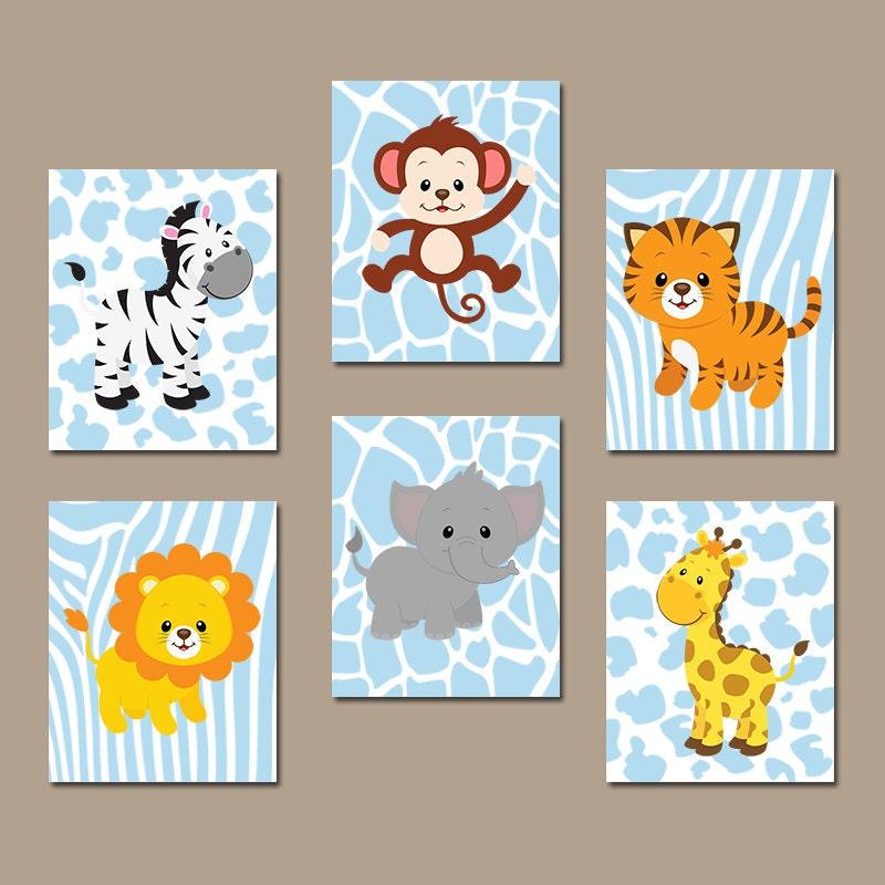 Jungle Wall Decor For Nursery : Baby boy nursery wall art jungle animals artwork by trmdesign
