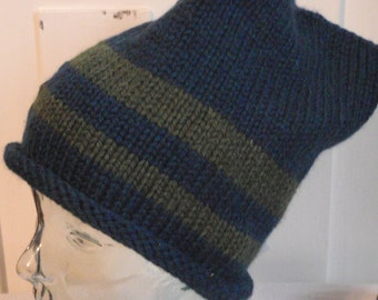Child or Adult Knit Jester Hat- Blue and Green Wool Blend