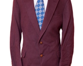 Men's Blazer / Vintage Burgundy Camel Hair Jacket / Size 48