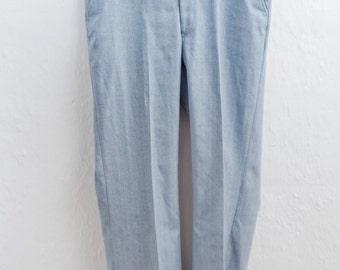 Men's Slacks / Vintage Light Blue Pinstripe Dress Pants / Large 36x31