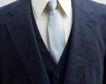Men's Suit / 42 Short Vintage Blazer, Vest, Trousers / Three Piece Dark Navy Wool Suit