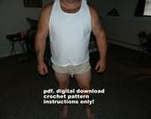 crochet pattern Men's Mesh Shorts 2, pdf. digital download