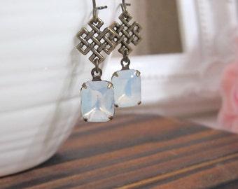 Vintage Modern Geometric Tetragon Jewelry Filigree Vintage Moon Glow Glass Drop Antiqued brass Nickel lead free Earring. Bridesmaid Gift
