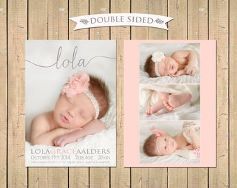 DOUBLE SIDED - Name Birth ANNOUNCEMENT -  Baby Girl Announcement - Photo Baby Announcement -
