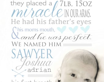 Birth story - Nursery Art Birth Announcement - Photo - Miracle perfect - Custom Baby Announcement - 8x10 - art - Memory book - Unique gift