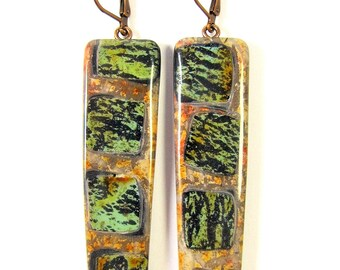 Polymer Clay Earrings - Fabulous Faux Collection - Southwestern Landscapes Series - Faux Turquoise Burning Tree Earrings