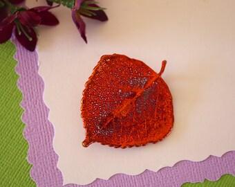 Aspen Leaf Brooch Copper, Aspen Leaf Pin, Real Leaf, Copper Leaf, BROOCH9
