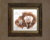 Halloween Decor - Animal Art - Watercolor print Sheep farm painting Childrens room decor Sheep ewe lamb kid white brown 10 x 10