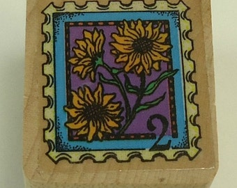 Sunflower Postage Stamp Wood Mounted Rubber Stamp