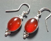Outstanding Carnelian Earrings in Sterling Silver Settings