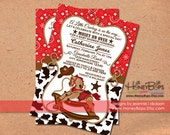 Western Rocking Horse Bandana Birthday or Baby Shower Personalized Invitation - Digital File Only