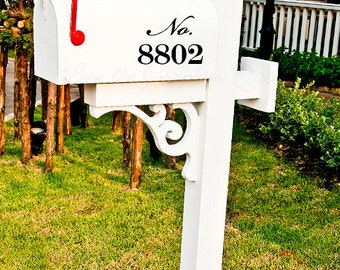 Mailbox Number Script Style Lettering Vinyl Decals Set of Three Increase Curb Appeal Easy to Apply Stickers House Number Street Address