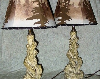 Two Rustic Driftwood Design Vintage Chalk Ware Lamps with Handmade Lampshades