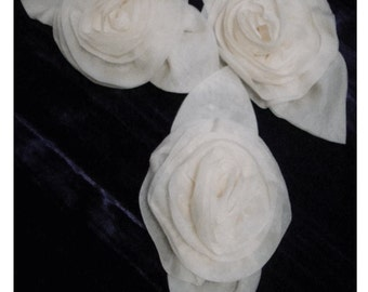 Lot of 3 Beautifully Handcrafted IVORY CHIFFON Millinery ROSES - Vintage ApPLIQUES 1940's