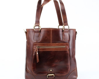 Leather Handbag Tote Shoulder Bag, oiled vintage brown
