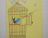 Vintage Unused Get Well Card with Bird in Cage and Glitter