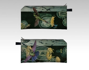 Zipper Pouch Pencil Case - when in deep water become a diver - digital print collage art by livingferal