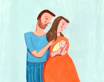 family  Illustration, home decor, wall art, Valentine's Day gifts