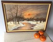 Vintage Watercolor  Painting - Snow Landscape