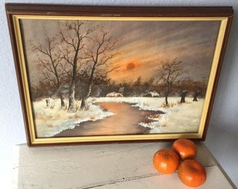 Vintage Watercolor  Painting - Snow Landscape