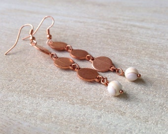 Handmade Jewelry Chime Cream White Golden Dangle Earrings Long Copper Earrings Handcrafted USA Bohemian Rustic Earthy Jewelry