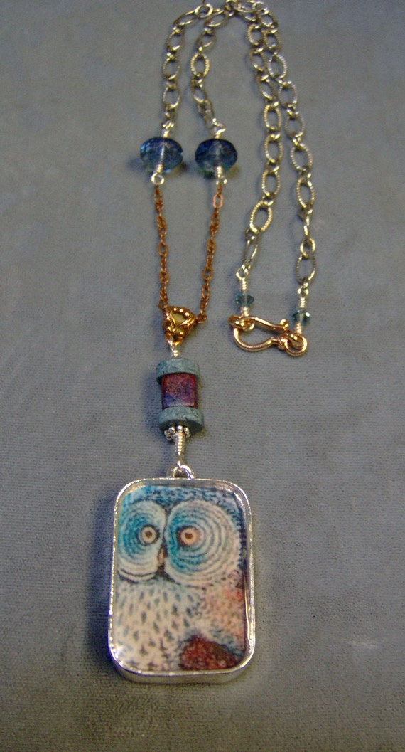 Owl Resin Pendant Necklace -Resin Pendant Double Sided With Owls - Vintage Style Necklace - SRAJD
