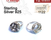 Clearance!  12mm Quality Cast 925 Sterling Silver Adjustable Ring Bezel Settings fit Rivoli 1122 crystals DIY (N13SH)