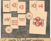 Route 25 Kraft Numbers | Vintage Advent Flashcards | Printable Collage Sheet