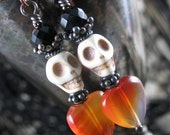 Black Onyx & Orange Carnelian Hearts And Skulls Halloween Drop Earrings