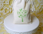 heart tree bag muslin wedding favor handstamped