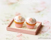 Food Jewelry - Cupcake Earrings Post - Romantic Rose Cupcake Earrings