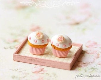 Food Jewelry - Cupcake Earrings Post - Romantic Rose Cupcake Earrings